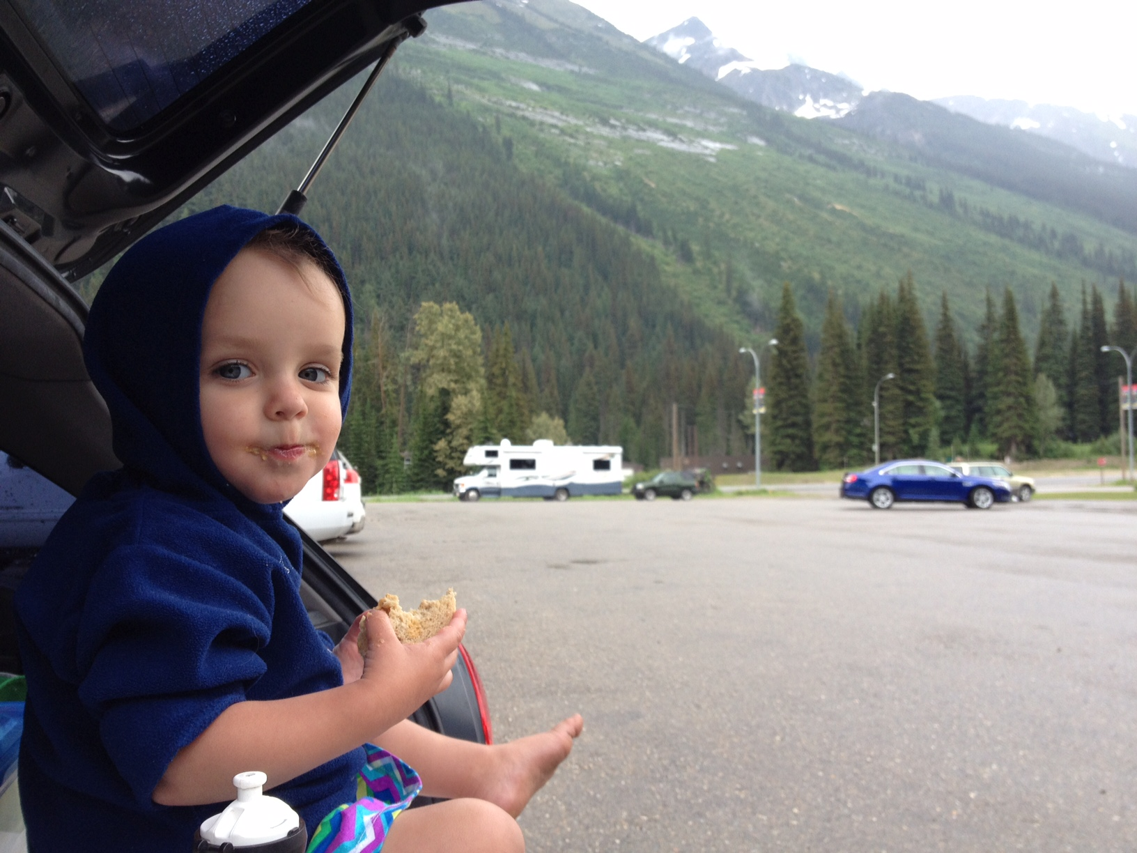 Hanging in the trunk at Rogers Pass