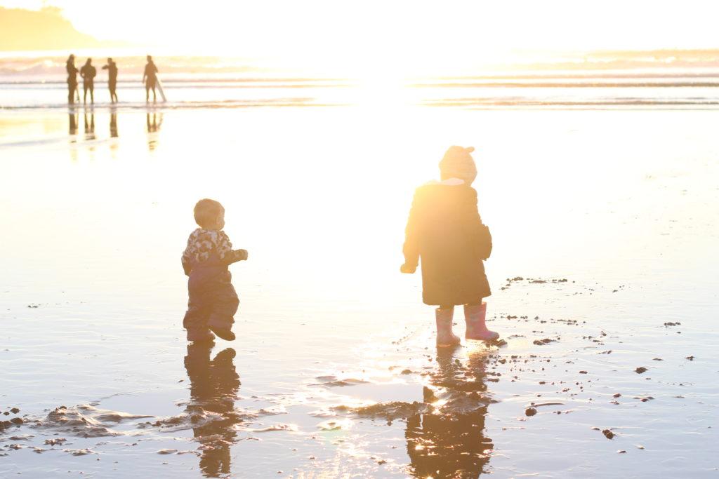 beach kids, Cox Bay, Tofino
