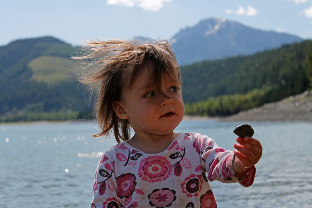 A girl and her rock at Kinbasket Lake Resort.