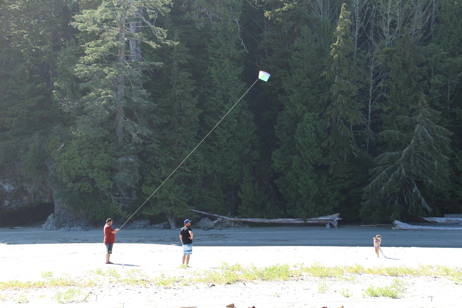 flying a kite on the beach
