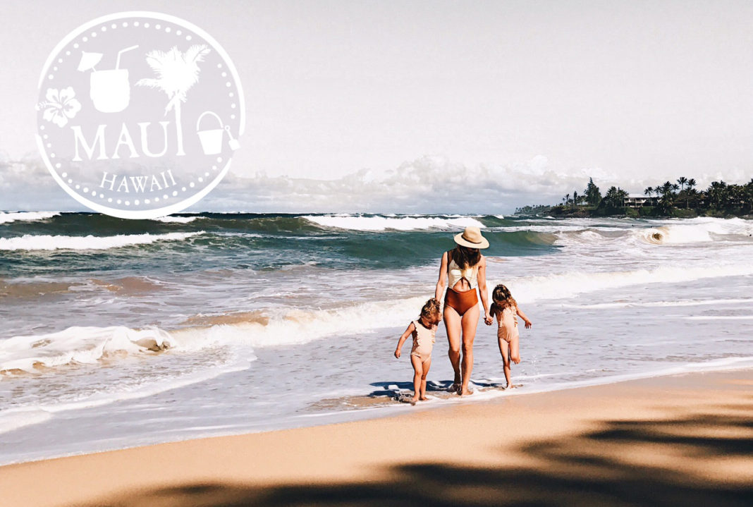 mom and daughters at beach maui hawaii