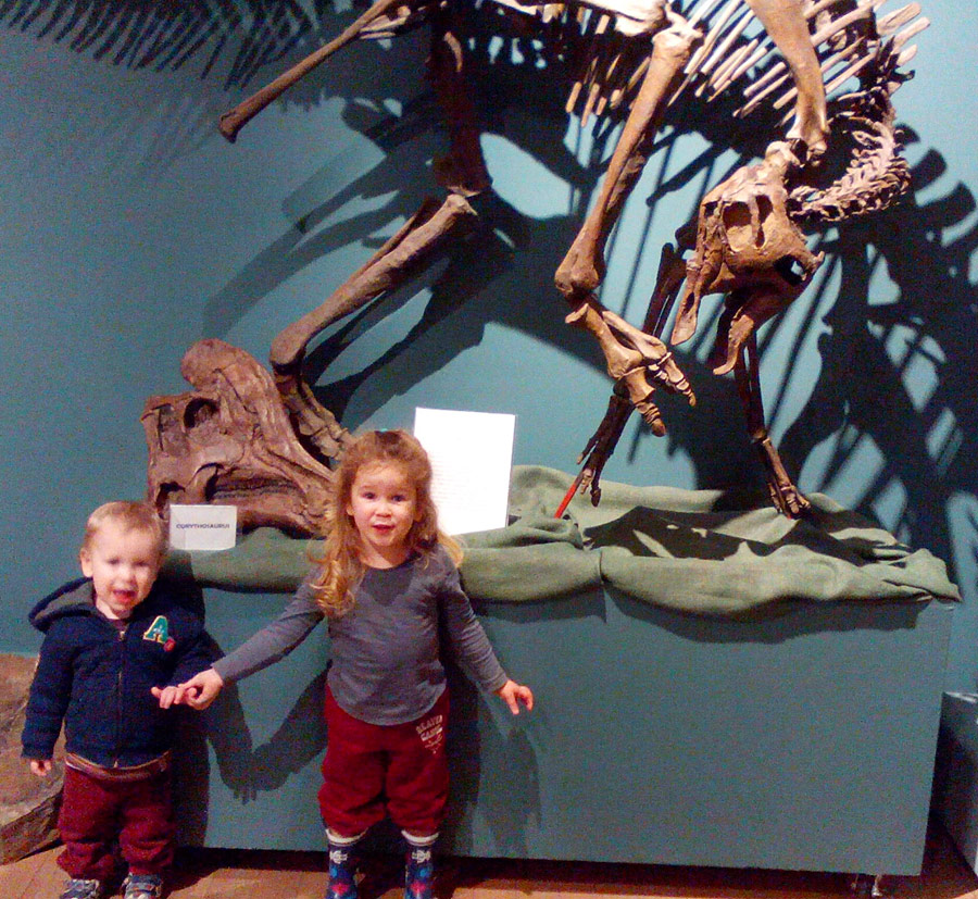 Toddlers with dinosaur bones at the Courtenay and District Museum and Palaeontology Centre