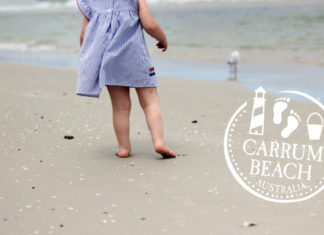 barefoot on sandy carrum beach and playgroun melbourne australia