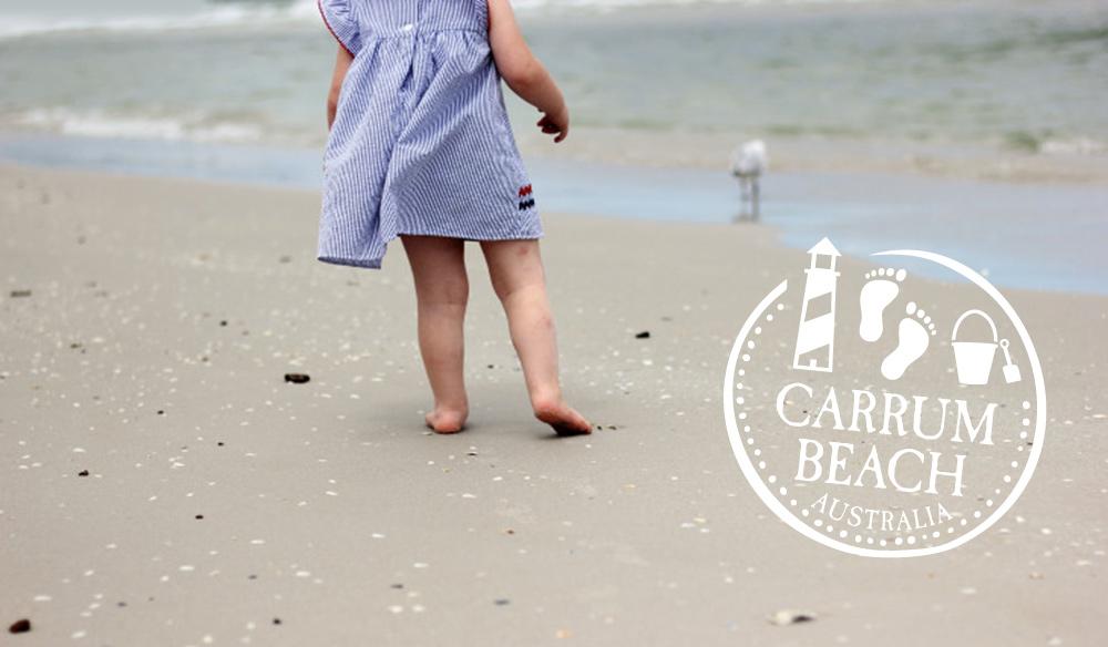 barefoot on sandy carrum beach and playgroun melbourne australia