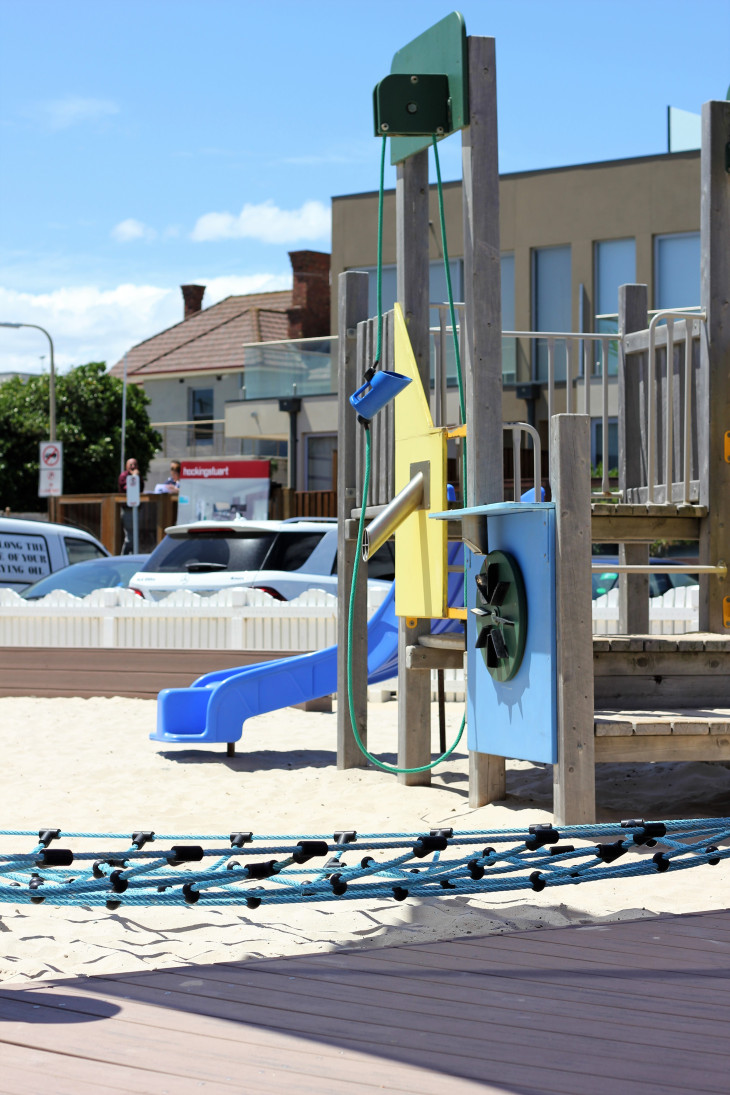 carrum beach slide and climbing toys at playground