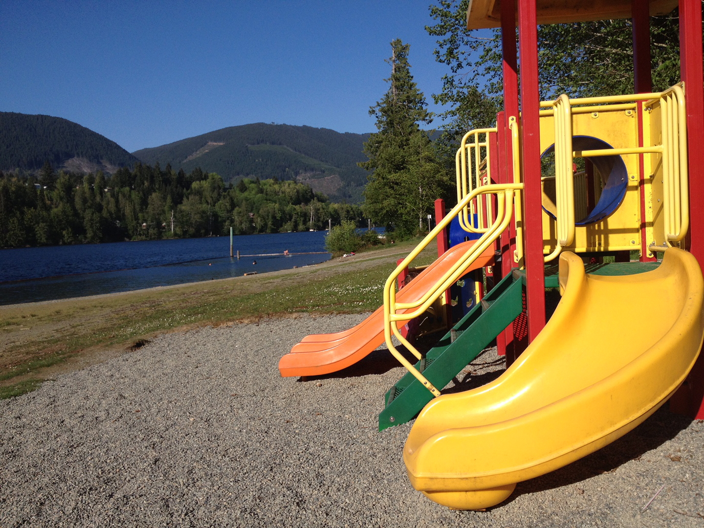 playground lakeview park cowichan lake swimming beach