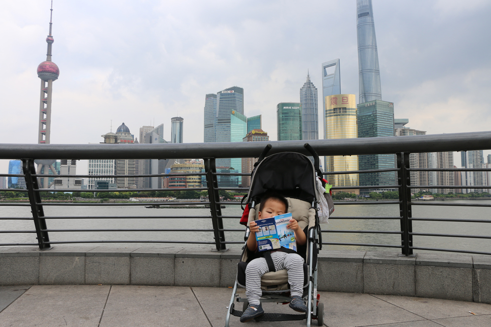 Oriental Pearl Tower Shanghai China with Toddler