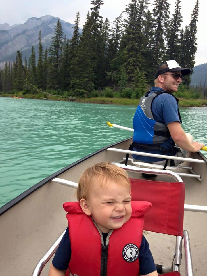 family canoe trip bow river banff alberta canada