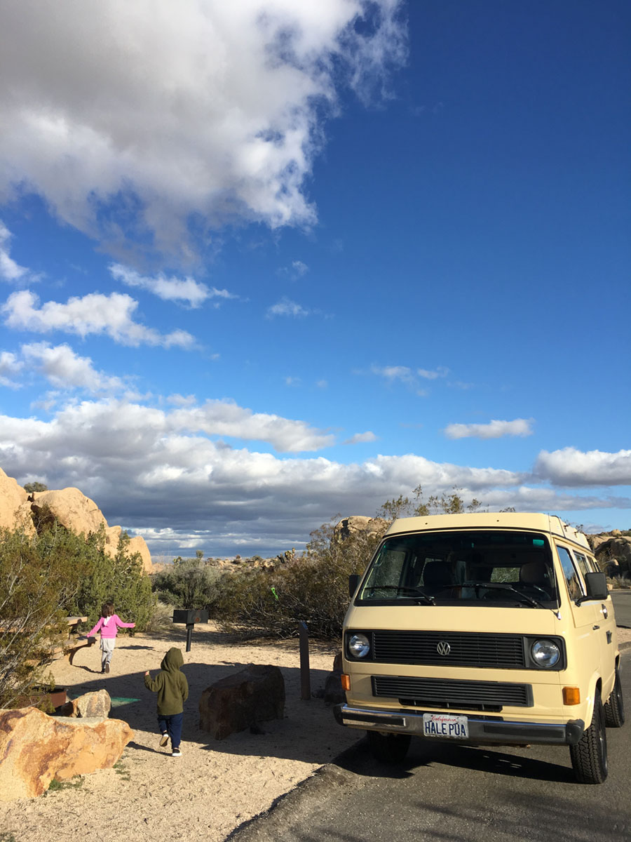 vw van camping jumbo rocks campground joshua tree