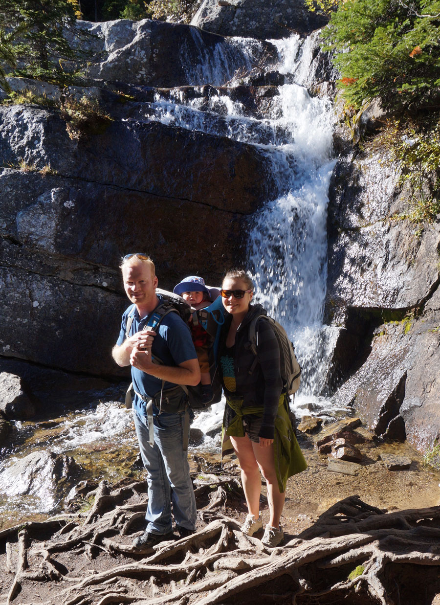 waterfall family hike bow valley banff alberta