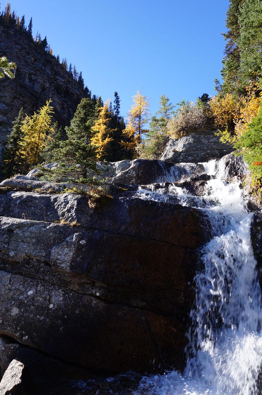 waterfall family hiking bow valley banff alberta