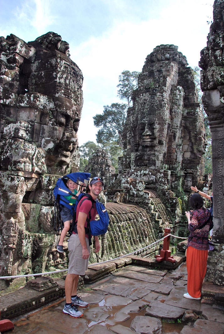 dad toddler backpack temple family trip angkor wat cambodia