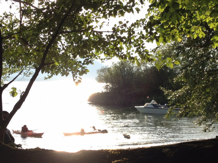 boats at Maple Grove campground youbou cowichan lake swimming beach
